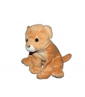 Peluche doudou Bébé Tigre Lion beige assis 25 cm petites billes