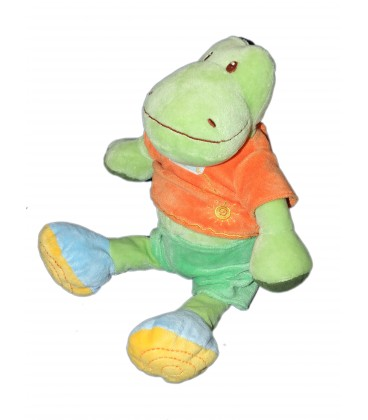 Peluche Doudou Crocodile Vert orange Ma Petite Tribu 25 cm