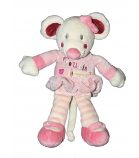 Doudou souris rose Kiabi Avda - Je suis une souris comme ça 25 cm