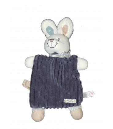 Doudou Plat Lapin Chien blanc bleu Baby Nicotoy 579/0753