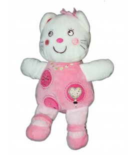 Doudou Chat rose blanc Coeur Nicotoy Simba 25 cm