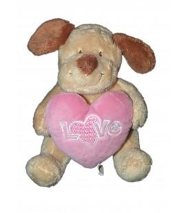 Doudou Peluche Chien beige coeur rose assis 16 cm Nicotoy 589/0083
