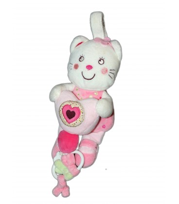 Doudou Musical peluche Chat blanc rose Coeur - NICOTOY - 25 cm 579/9911