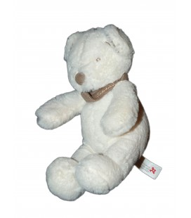 Doudou Peluche Ours blanc bandana taupe 20 cm Nicotoy 579/5265