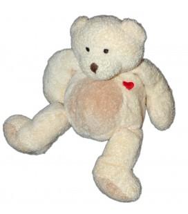 Doudou Peluche Ours écru beige Nicotoy Coeur rouge 14/22 cm