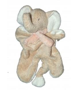 Doudou plat Elephant Beige Echarpe rose Nicotoy