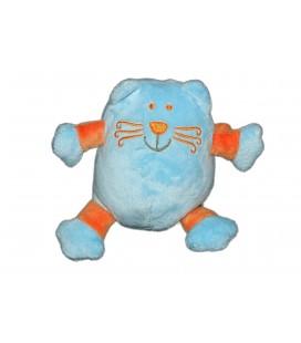 Doudou Peluche Chat bleu orange Vêtir H 16 cm