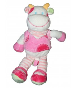 Doudou Vache rose Foulard rayures - Nicotoy H 26 cm