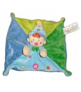 Doudou plat carré CLOWN Lutin Gara§on bleu vert NICOTOY - Baby Comforter
