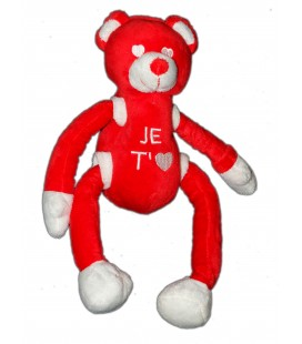 Doudou Peluche Ours rouge CMP Je T'aime 32 cm bras jambes coulissants