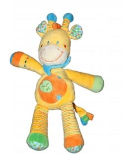 Doudou Peluche Girafe orange Feuille Vêtir H 20 cm