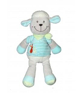 Doudou Peluche Mouton Blanc Bleu rayures Nicotoy Simba 579/9073 H 28 cm
