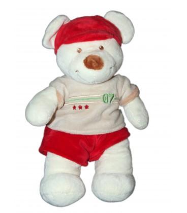 Doudou Ours blanc Short rouge Pull 07 Vêtir 28 cm
