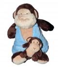 Doudou Peluche Singe Marron Brun Bleu et son bébé Nicotoy 589/1001 H assis 20 cm