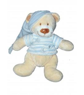Doudou Peluche Ours beige Pull capuche bleu Vêtir Kiabi Nicotoy Lune Etoile Rayures 22 cm