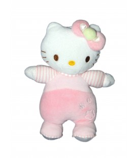 Doudou peluche HELLO KITTY rose Grelot Fleurs 22 cm