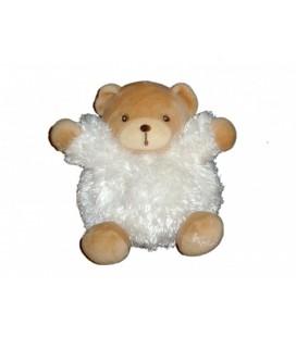 Doudou peluche ours boule blanc Fourrure Fur KALOO 18 cm