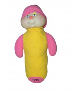 Doudou peluche CHENILLE jaune rose - Phosphorescente - TOTO 32 cm AJENA 8293