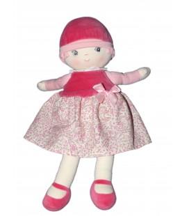 Doudou poupée Tissu Chiffon Lily COROLLE 2012 - Chapeau velours - Robe rose Grelot H 36 cm