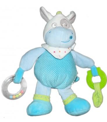 Doudou Peluche d'activité Hochet Cheval ou Vache bleue Mots d'Enfants 26 cm