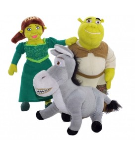 LOT - 3 peluches doudous SHREK - FIONA - L'ANE - Dreamworks Play by Play 36 cm