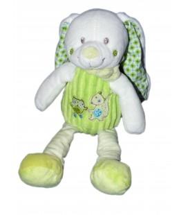 Doudou Peluche Lapin Vert Blanc MOTS D ENFANTS - 28 cm Hibou Renard
