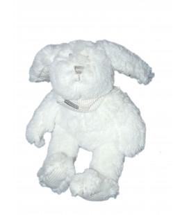 Peluche Doudou Lapin Blanc Absorba Longs poils Foulard H 20 cm Ultra doux