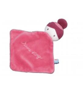 Petit doudou plat Poupée fille rose SUCRE D'ORGE 15 x 15 cm