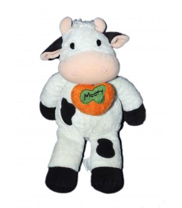 Doudou peluche Vache Blanche Noire Mooty Nicotoy Coeur orange 30 cm