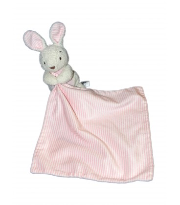 Doudou Lapin blanc rose Mouchoir rayé Marks and Spencer