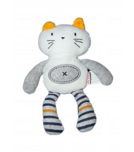 Doudou Chat blanc gris Brioche H 25 cm La Halle