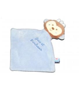 Petit doudou plat Singe Bleu Joie et Bonheur Sucre d'Orge 22x25 cl