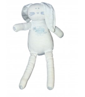 Doudou LAPIN bleu blanc rayé - PETIT BATEAU - Tissu - 25 cm