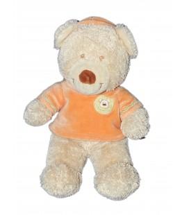 Doudou Peluche Ours beige pull Capuche orange Kiabi Nicotoy 28 cm