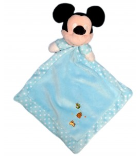 Doudou plat Mickey bleu coccinelle pois blancs Losange Disney Nicotoy 587/9480