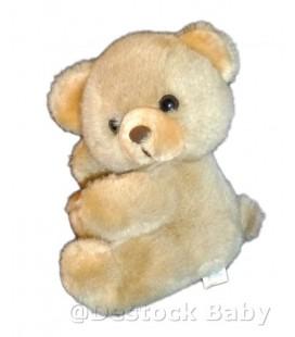 Doudou peluche OURS beige marron clair Yeux nez marron - BOULGOM - 22 cm