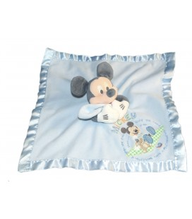 Doudou plat Mickey Disney Store bleu Bords satins 35 cm