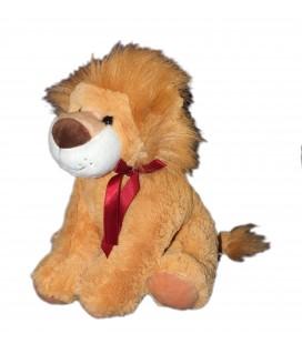 Peluche lion beige Noeud bordeaux MARIONNAUD H 30 cm