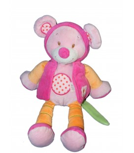 Doudou Souris Tex Baby 28 cm - Rose orange Fleur cape