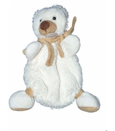 Doudou plat Ours blanc beige Baby Nat Echarpe Ourson BN940