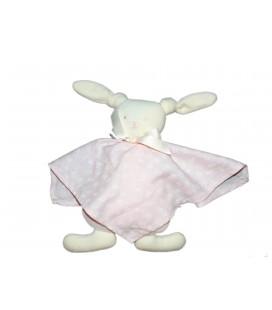 Doudou LAPIN rose - Tissu fleuri - Grelot - COROLLE 2003
