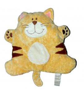 Doudou Chat Tigre beige marron TIAMO 26 cm Petites billes