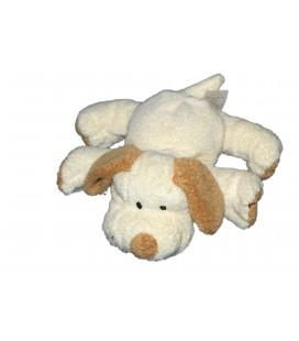 Doudou chien blanc cassé écru crème marron Orchestra 16 cm