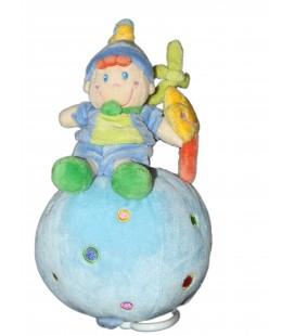 Doudou Peluche musicale Lutin bleu vert ronds sur boule MOTS D'ENFANTS Etoile 20 cm