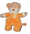 Doudou peluche OURS orange beige marron NICOTOY Fleur brodée H 26 cm