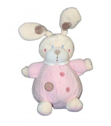 Doudou boule LAPIN rose ronds NICOTOY Simba - H 22 cm + oreilles 579/6638