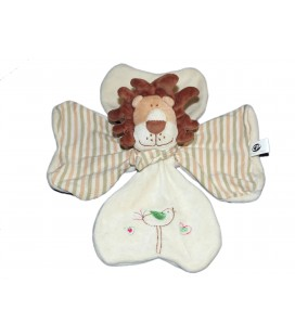 Doudou plat Trèfle Lion blanc beige CP International