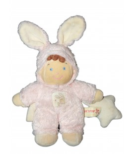 Doudou lutin garçon déguisé lapin rose NICOTOY Grelot étoile 22 cm + oreilles