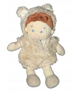 Doudou lutin garçon déguisé ours beige NICOTOY 22 cm