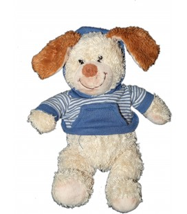 Doudou chien beige Pull capuche bleu rayures NICOTOY 22 cm